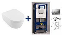 Подвесной унитаз 5656HR01 AVENTO Direct Flush с крышкой + комплект Geberit Duofix 458.161.21.1, фото 1