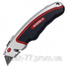 Нож INTERTOOL с выдвижным трапециевидным лезвием, металлический корпус, прорезиненный. INTERTOOL HT-0516