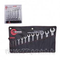 Набор рожковых ключей 12 шт. 6-32 мм Cr-V, покрытие сатин-хром; PROF DIN3113 INTERTOOL XT-1103