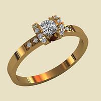 Нежное золотое венчальное кольцо с Фианитами