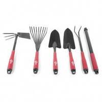 Набор огородный INTERTOOL: лопата 330 мм, грабли 330 мм, грабли веерные 400 мм, сапка огородная 330 мм.