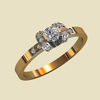 Золотое венчальное кольцо 585* с Фианитами