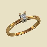 Нежное золотое венчальное кольцо с грубым кастом
