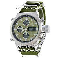 Часы мужские наручные АМСТ AMST Silver-Green Green Wristband