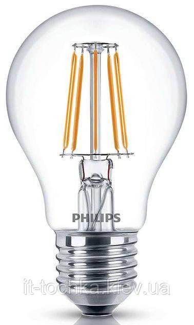 Лампа светодиодная декоративная philips led fila nd e27 4.3-50w 2700k 230v a60 1ct apr - it-точка - магазин удобных покупок для дома и работы в Киеве