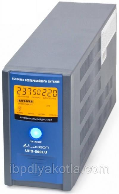 ИБП Luxeon UPS-500LU (300Вт), для котла, чистая синусоида, внешняя АКБ
