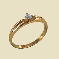 Гладкое нежное золотое венчальное кольцо 585*