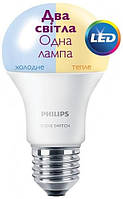 Лампа светодиодная philips led scene switch e27 9.5-60w 3000k/6500k 230v a60