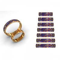 Классические обручальные кольца 585* пробы с эмалью
