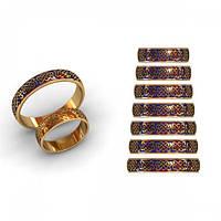 Классические золотые обручальные кольца 585* с эмалью и орнаментом