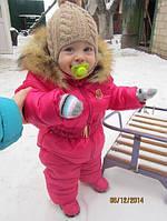 Детские комбинезоны на синтепоне 200й плотности,подкладка флиз Натуральный мех-лисица,капюшон съёмный.ал №0855