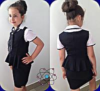 Сарафан на девочку, ткань  чёрная и синяя мадонна и серая тиар, супер качество мм № 634