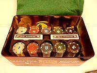 """Набор для покера на 200 фишек """" TEXAS HOLD'EM"""" в металлической коробке"""