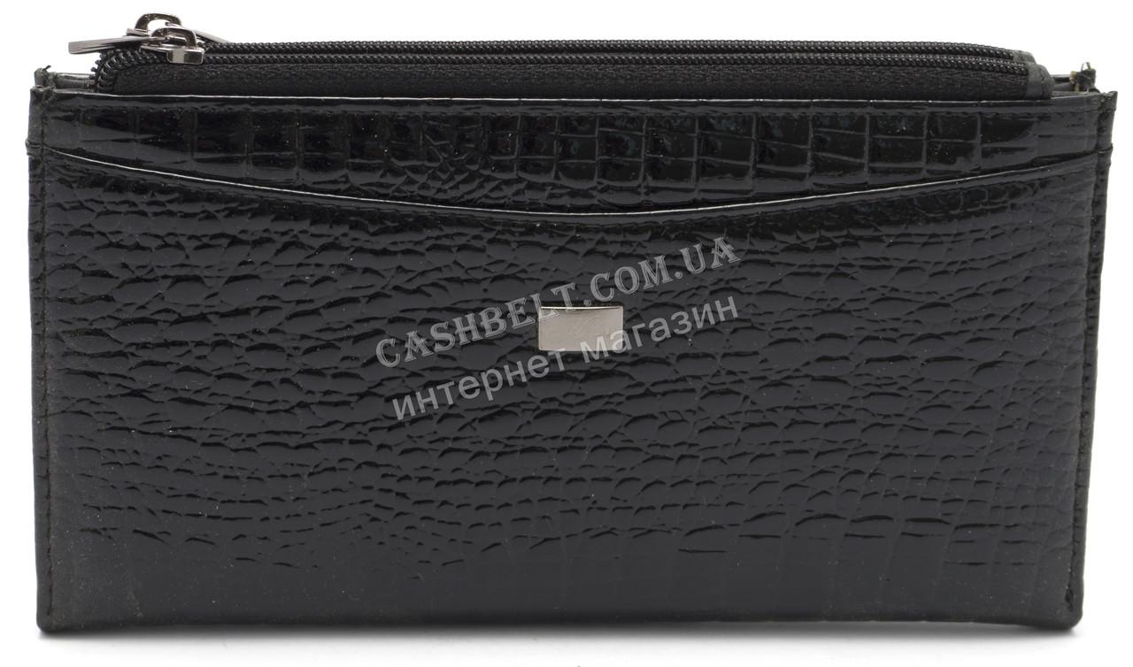 Стильный кожаный лаковый женский кошелек черного цвета Helen art. 2489T-67