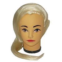 Манекен женской головы резиновая с макияжем и белыми волосами по плечи