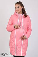 Куртка для беременных Kristin, розовая с принтом вышевка