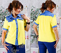 Рубашка со вставками джинса . Батал: 48.50.52.54
