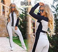 Костюм спортивный двойка, ткань турецкая двунитка, цвет черный и серый, фото реал дг № 1000