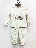 Трикотажная пижама Вышивка (бежевая), интерлок