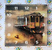 Часы настенные квадратные Поезд