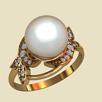 Очаровательное золотое кольцо с натуральным жемчугом