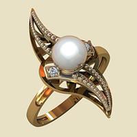 Изысканное золотое кольцо с натуральным жемчугом причудливой формы