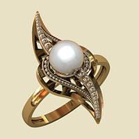 Золотое кольцо с жемчугом необычной формы