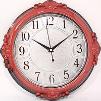 Часы настенные круглые в корпусе под цвет дерева ( 328 мм )
