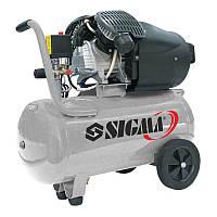 Компрессор SIGMA профессиональный, двухцилиндровый 2.5 кВт, 455 л/мин. 10 бар, 50 л. (2 крана) Sigma
