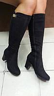 Женские замшевые сапоги на каблуке Lino Morano.