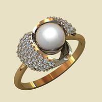 Прекрасное изысканное золотое кольцо с натуральным жемчугом