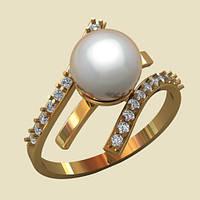 Небольшое изысканное золотое кольцо с натуральным жемчугом