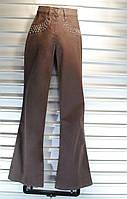 Подростковые коричневые штаны с заклёпками