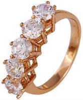Кольцо позолота Gold Filled с крупными цирконами (GF448) Размер 18 - ОПТ
