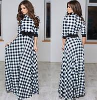 Платье женское длинное трикотажное с бантом P3621
