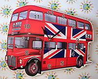 Часы настенные Автобус с флагом Англии