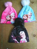 шапочка для девочки на флисе с бубоном
