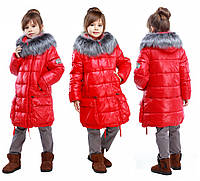 Детская зимняя куртка, отличное качество, мех чернобурка, Малика, 32-38