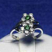 Серебряное кольцо Ромашки с цирконом 1847