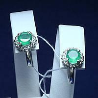 Серебряные серьги с агатом и цирконием Аля 2071/9р зеленый агат