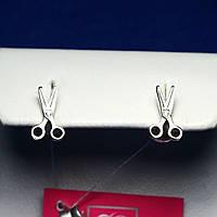 Серебряные серьги-пусеты с цирконом Ножницы 2117, фото 1