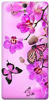 Чехол для Sony Xperia C5 Ultra E5533 (Бабочки и орхидеи)