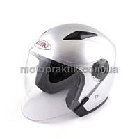 Шлем (открытый со стеклом) Ataki OF512 Solid серебристый глянцевый S, фото 1