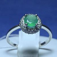 Серебряное кольцо с зеленым агатом 1581/9р, фото 1