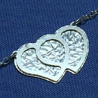 Колье из серебра Два Сердца 45 см №1