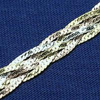 Серебряная цепочка Косичка с золотым напылением 55 см №29, фото 1