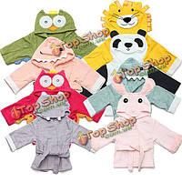 Детские пижамы спокойной малыша малышей животных мультфильм халат полотенце