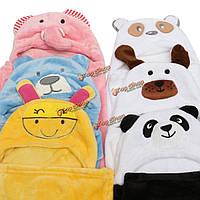 Ребенок младенец дети унисекс мультфильм животных с капюшоном халат обертка пляжное полотенце шлема халат