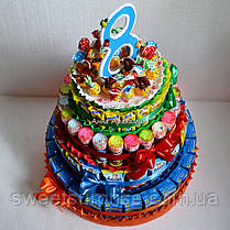 """Торт в детский сад из сока и конфет """"Барни"""" (для девочки), фото 2"""