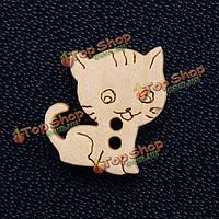50шт кнопки деревянные мультфильм свободные бисера шитье вечеринке поделки